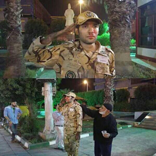 ادای احترام خاص سرباز نجات یافته آبادانی به همقطارانش (تصویر)