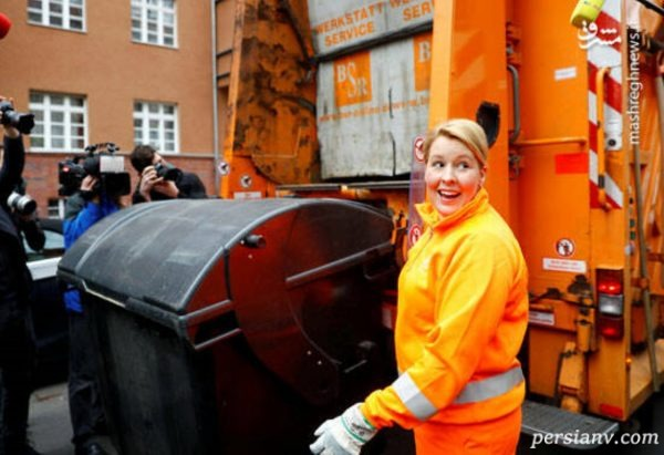 وزیر زن آلمانی در لباس رفتگری