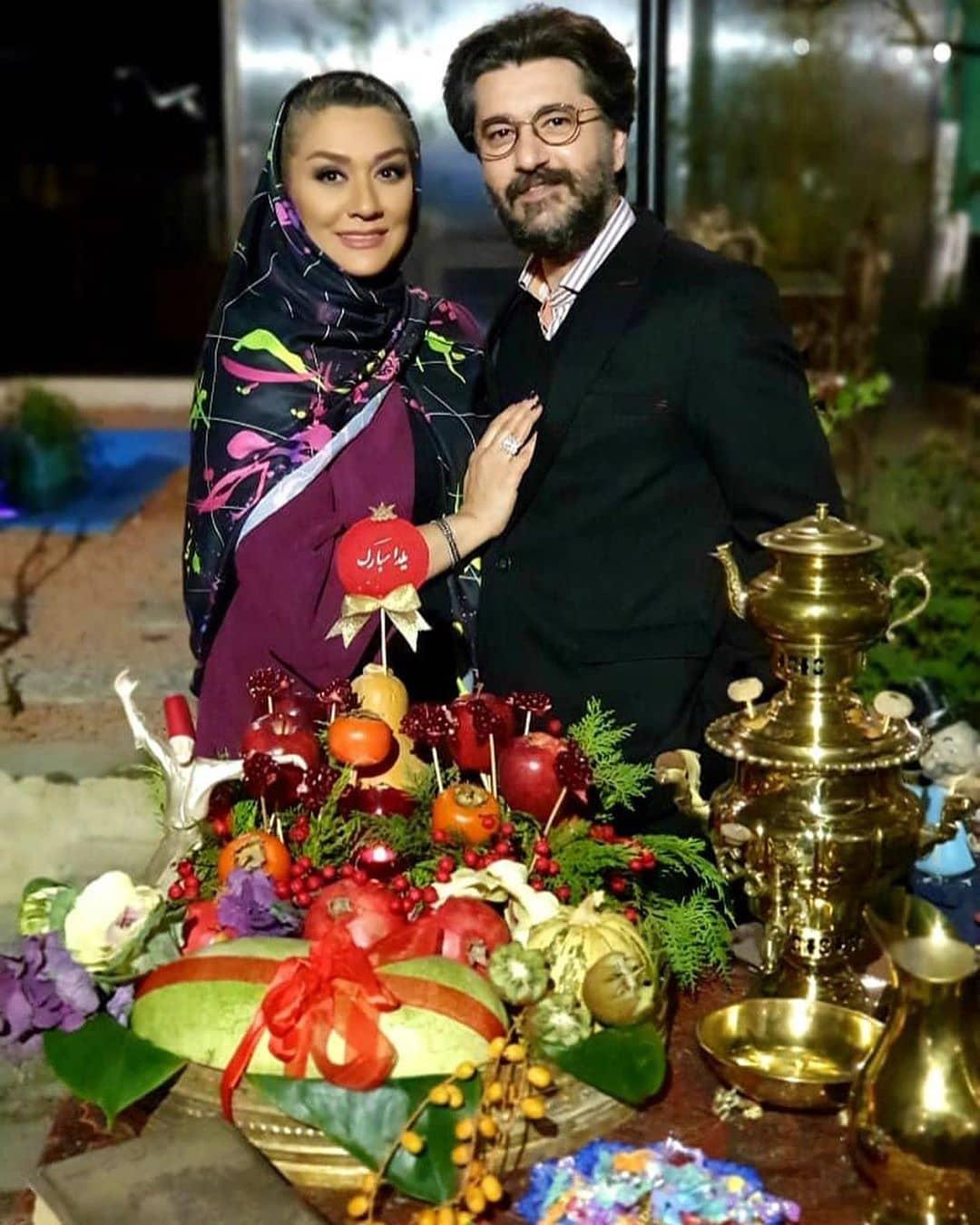 عکس یلدایی امیرحسین مدرس و همسرش