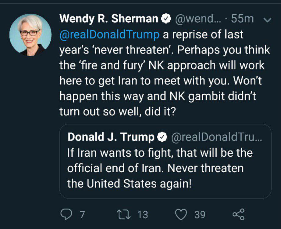 واکنش وندی شرمن به توئیت ترامپ: قمار کره شمالی در مورد ایران جواب نمیدهد