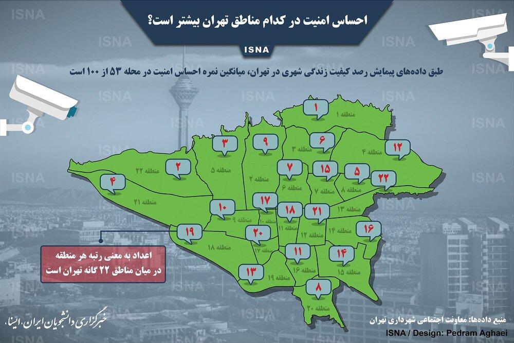 احساس امنیت در کدام مناطق تهران بیشتر است؟ +اینفوگرافیک
