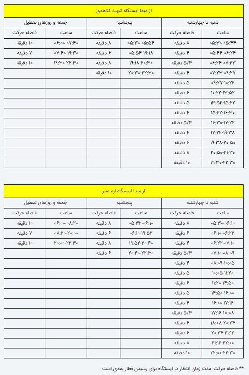 نقشه کامل خطوط مترو تهران و برنامه حرکت قطار ها جدول رویداد24